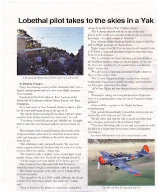 Lobethal Pilot takes to the Skies in a Yak!